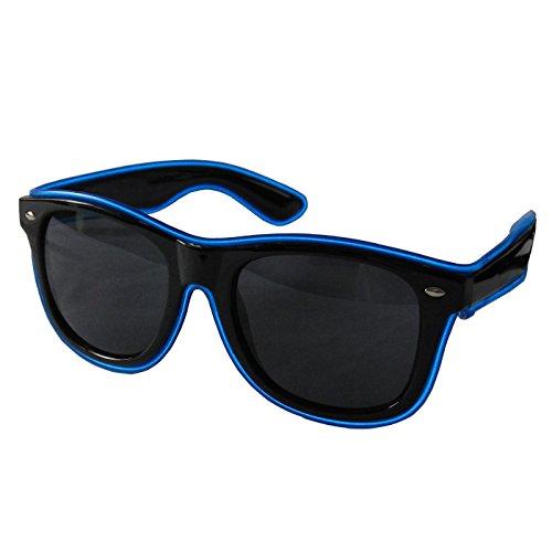 grau.zone LED-Brille Leuchtbrille Partybrille Spassbrille Blinky mit dunkle Gläser Blau
