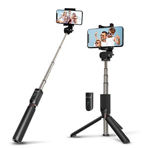 BINDEN Selfie Stick y Tripie BW-BS3 de Bolsillo 3 en 1 con Obturador Removible, Rotación 360 Grados, Soporte con Apertura de hasta 8.5 Centímetros (Negro)