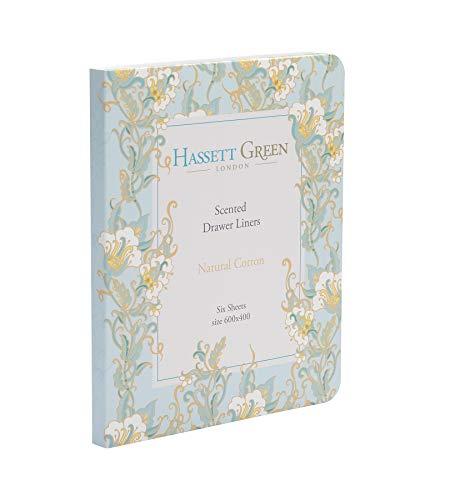 Revestimiento perfumado para cajones, de Hassett Green, aroma de algodón natural, 6 hojas, 600 x 400, color verde