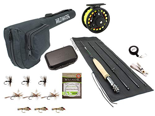 Wild Water Fly Fishing 7 Foot, 4-Piece, 3/4 Weight Fly Rod Complete...