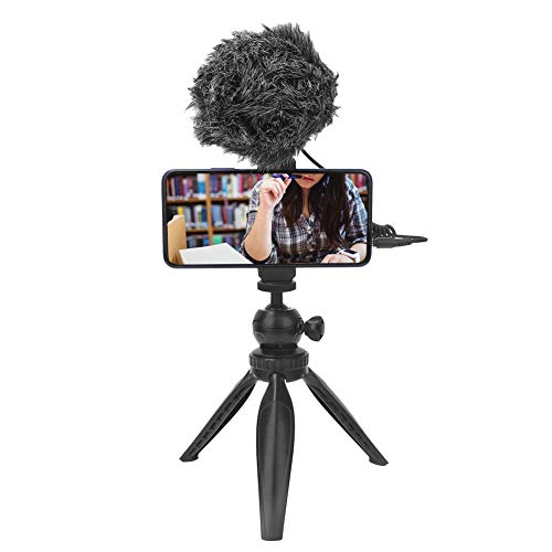 Vbestlife Desktop Interview Microfoon, Audio Video Record Telefoon Condenser Microfoon Live Microfoon met Statief Telefoon Clip 3.5mm Kabels