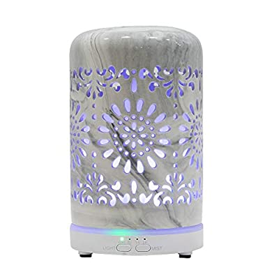 HAWOO Ceramic Oil Diffusers for Essential Oils for Home, Small Vintage Oils Aromatherapy Diffuser with Auto Shut-Off Protection, 7 Color Changing Light, Cool Mist Humidifier for Office Bedroom (Grey)