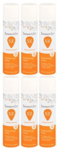 Summer's Eve Freshening Spray | Tahitian Sunset | 2 oz Size | Pack of 6 | pH Balanced, Dermatologist & Gynecologist Tested
