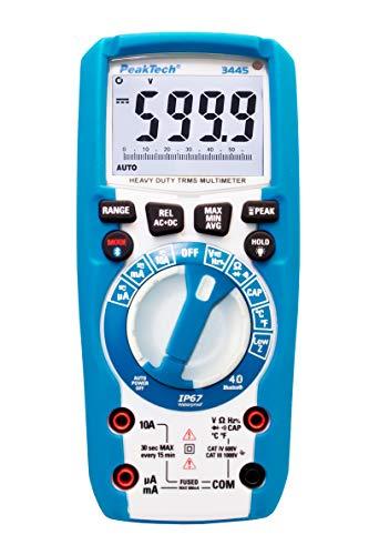 PeakTech 3445 - True RMS Digital Multimeter mit 4.0 Bluetooth, Wasserdicht (IP67), 6000 Counts, Robustes Gehäuse, Handmultimeter, Spannungsmesser, Durchgangsprüfer, Messgerät, Strom - CAT III 1000V