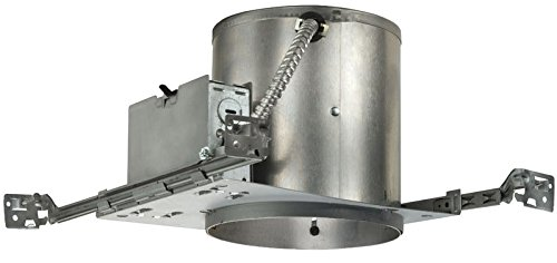 Juno Lighting IC23 W G 6-Inch IC Rated Universal Incandescent Housing with Floating Socket with Push in Electrical Connectors and Air-Loc Gasket, 6 Inches - No Plate, New Construction