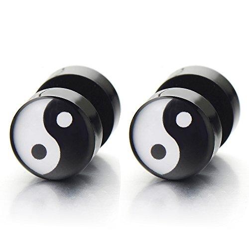 Yin Yang Enchufe Falso Fake Plug, Pendientes de Hombre, Aretes, 1 Par