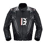 ZDSKSH Chaquetas de Moto para Hombre Chaqueta de Motociclista Negra con Forro térmico Desmontable, Ligera y Transpirable, 4 Estaciones