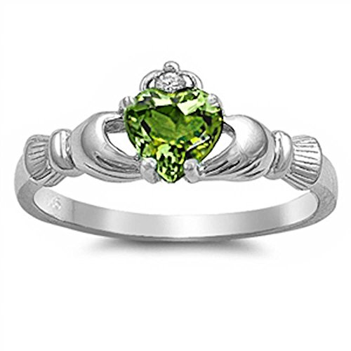 Oxford Diamond Co Irish Claddagh Peridot Ring Size 5