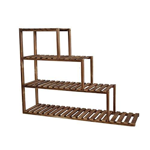GWFVA Flower stand outdoor stand gemaakt van hout, tuin, huis, bloem, balkon, ladder, plank, stand-alone, 120X15x75cm