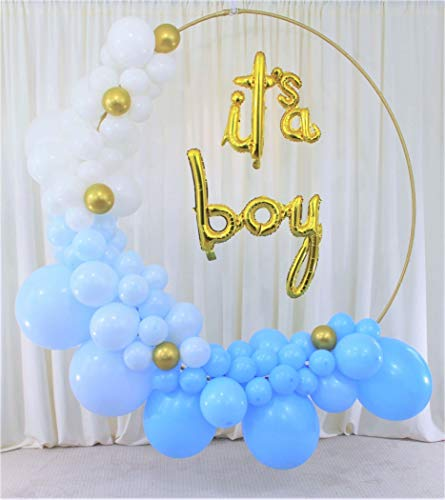 It's A Boy Balloon Garland Arch kit, baby shower balloons for boy, baby boy balloon arch, Set Includes: its a Boy Foil Balloon Banner,90 Dark Blue, Light Blue, White and Gold Balloons, DIY Balloon kit