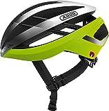 ABUS Aventor Quin Casco de carreras - Casco de bicicleta inteligente con detección de colisión y sistema de alarma SOS - Para hombres y mujeres - Amarillo/plateado, talla L