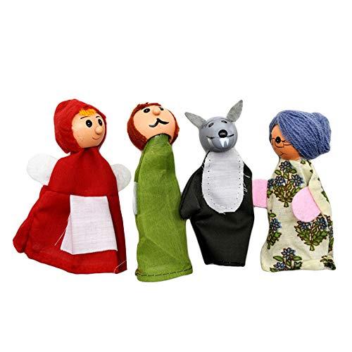 LOVEYue 4Pcs Kinder Rotkäppchen Wolf Märchengeschichte Fingerpuppe Storytelling Toy, Perfekt Für Kinder Intellektuelles Spielzeug Geschenkset 4 Stück