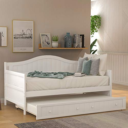 Twin Daybed with a Trundle,Modern Style Wood Daybed Frame Trundle Daybed Twin Size,10 Slats No Box Spring Needed,White