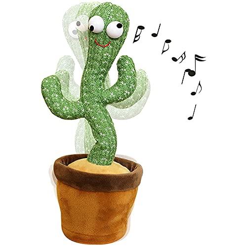ZHWDZAMM Cactus Bailarín,Repite lo Que Dices y Canta Juguete Electrónico de Peluche,Cactus Cantante y Bailarín,Regalos Divertidos de Educación Infantil