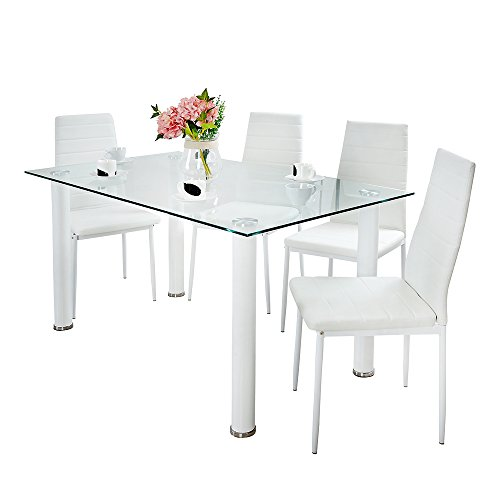 Panana GlassDining Table Set and 4 Soft White Leather Chairs Seats Kitchen Home Set (White 105cm table+4chairs)