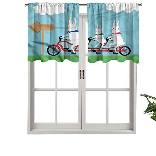 Hiiiman Cortinas cortas, elegantes, con bolsillo para barra, conejos en una bicicleta tándem, juego de 2, 137 x 91 cm, decoración para baño/dormitorio/sala de estar