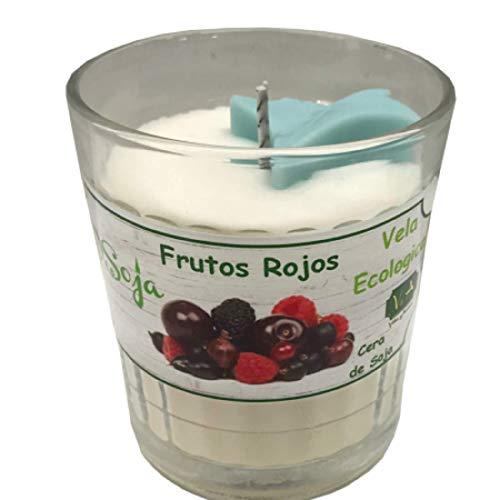 Qaromas ecologische sojawas kaars rode vruchten in glas. Ritual Candle