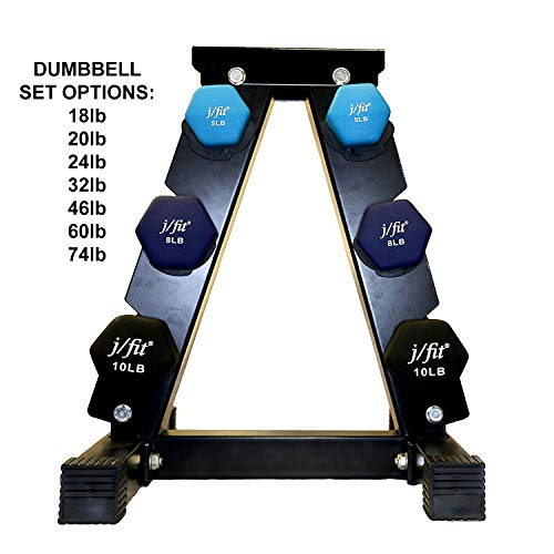 j/fit Dumbbell Set w/Durable Rack | Solid Design | Double Neoprene Coated Workout Weights Non-Chip and Flake | Dumbbells Sets For Gyms, Pilates, MMA, Training (46lb Set)