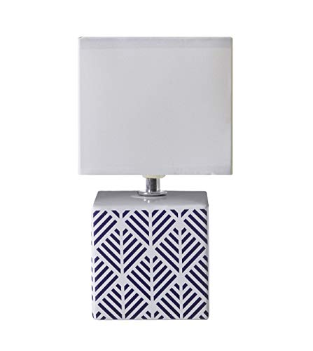 LUSSIOL Lámpara de noche Caroline, lámpara decorativa cerámica, 40 W, azul, 11 x 22 cm