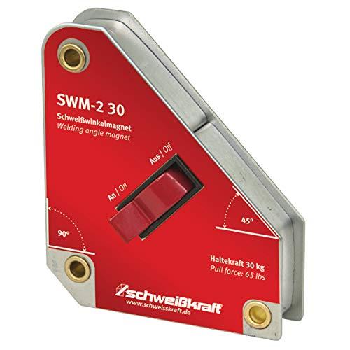 Schweißkraft magnet-shop SWM-2 30 1790029 - Imán en ángulo de soldadura conmutable (ángulo de 45°/90°, con interruptor, fuerza de sujeción de 30 kg, dimensiones 111 x 95 x 25 mm)