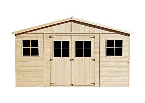 TIMBELA Holz Gartenschuppen MIT IMPRÄGNIERTEM Boden - Abstellkammer mit Fenstern - H246 x 418 x 320 cm/ 12 m² Naturholz-Shiplap-Schuppen - Gartenwerkstatt - Fahrrad- Geräteschuppen M331+331G