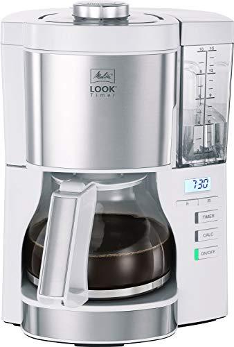 Melitta Look Timer 1025-07 Filterkaffeemaschine mit Timerfunktion, abnehmbaren Wassertank und Entkalkungsprogramm (weiß), Kunststoff, 1.25 liters