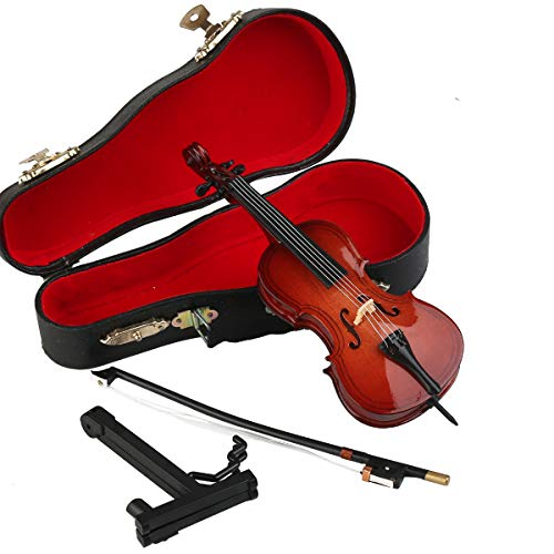 Dselvgvu Wooden Miniature Cello with Stand,Bow and Case Mini Musical Instrument Miniature Dollhouse Model Home Decoration (5.51'x1.97'x0.63')