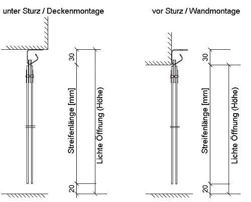 PVC Streifenvorhang Lamellen 2x200mm – H2,00 x B1,05 m – fertig vormontiert – VZ - 9