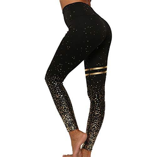 Remebe Pantalones de yoga de cintura alta para mujer Correr Correr Yoga Ejercicio Entrenamiento Gimnasio Deporte Pantalones elásticos de lámina dorada