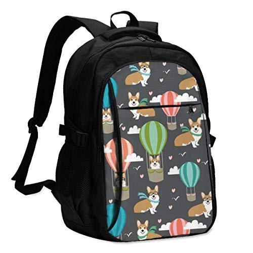 XCNGG Dog in Hot Air Balloon Travel Laptop Mochila College School Bag Mochila Informal con Puerto de Carga USB
