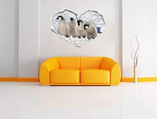 KAIASH 3D Pegatinas de Pared Cuatro Lindos Polluelos de pingüino Emperador en Forma de corazón en un Aspecto 3D Etiqueta de la Pared o Etiqueta de la Pared decoración de la Pared 92x64cm