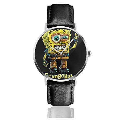 Unisex Business Casual Spongebob Parodie Grungebob Uhren Quarz Leder Uhr mit schwarzem Lederband für Männer Frauen Junge Kollektion Geschenk