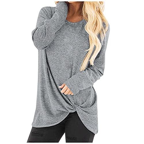 NHNKB Camiseta de mujer cómoda para el tiempo libre, camiseta de manga corta Twist Knot, gris, M
