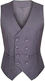 Vest for Men/Autumn Men's Suit Vest Double Breasted Slim Fit Men's Suit Suit Vest Vest (Color : Purple, Size : 5XL)