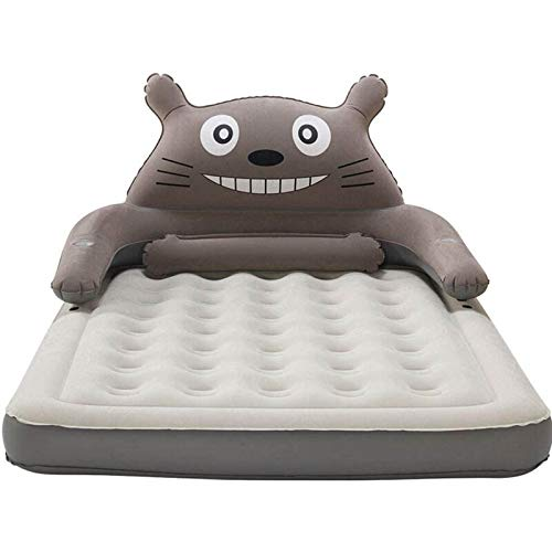 VIVITG Totoro Double Bed Cute Cartoon Sleeping Bag Pad Sofa Ship Inflatable Air Bed, Air Blow up Bed with Built in Electric Pump, 152 * 203 * 22cm