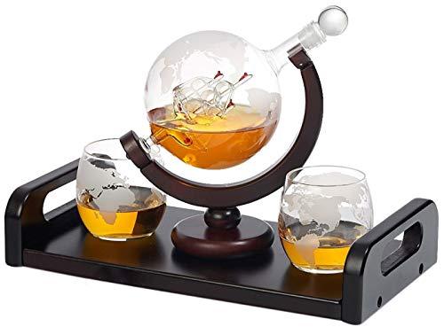 Bezrat Etched Globe Whiskey Decanter + 2 Whiskey Glasses 10 Oz. on...