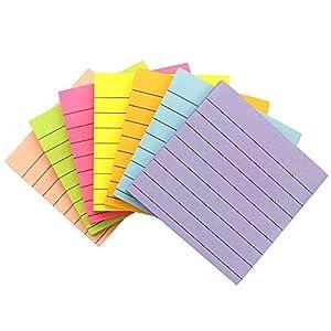 Notas Adhesivas Colores Sticky Notes, Marcadores Adhesivos 75 x 75 mm, 7 Bloques, 80 Páginas / Bloque, 7 Colores