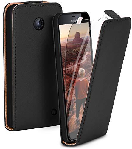 moex Flip Hülle mit Schutzfolie für Nokia Lumia 630/635 - Handytasche klappbar, Schwarz