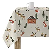 BELUM   Mantel Navidad   Mantel Antimanchas Mesa Rectangular Resinado   Mantel resinado (Tacto plastificado)   Mantel Mesa   Mantel Mesa hogar (140X140 cm)