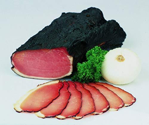 Food-United Hüttenspeck 300g rohgeräucherter Schweinerücken typisch Tirol nach traditionellem Rezept mit ausgewählten Gewürzen besonders aromatisch und zart, glutenfrei, laktosefrei