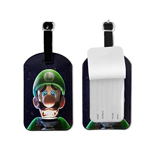 Lui-gi Man-sion - Etiquetas de equipaje de cuero para hombres y mujeres, etiquetas de maleta, etiquetas de equipaje para identificación, accesorios de viaje, etiquetas de microfibra de piel sintética