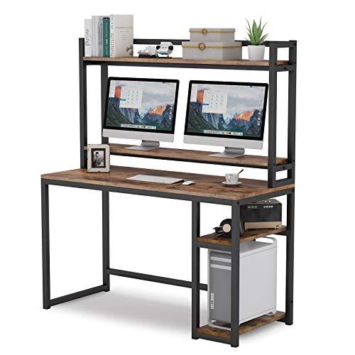 Tribesigns Schreibtisch,computertisch mit Bildschirmständer, 2 Lagerregal, 1 hohem Regal,Vintage