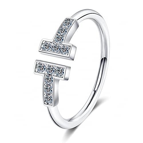 Anillo ZIYUYANG , Anillo Moissanite Anillo de plata esterlina con diamantes 8
