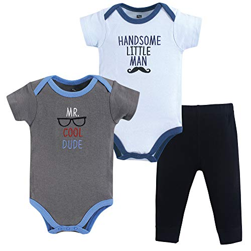 Hudson Baby Unisex Baby Cotton Bodysuit and Pant Set, Mr Cool Dude, 9-12 Months
