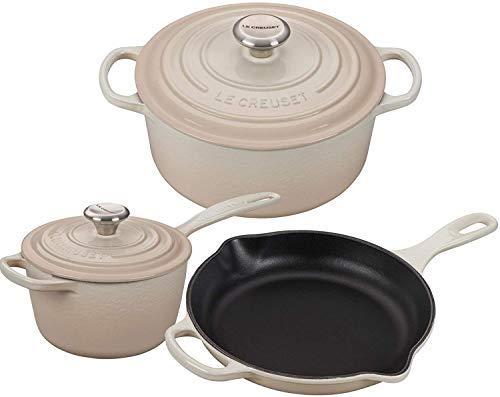 Le Creuset Signature Enameled Cast-Iron Dutch Oven, Saucepan, And Skillet 5 Piece Bundle Set - Meringue