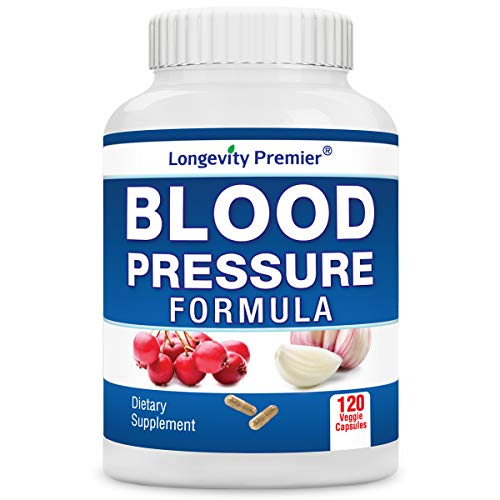 Longevity Blood Pressure Formula [120 Capsules] - with 12+ Natural Herbs. Best Blood Pressure Supplement