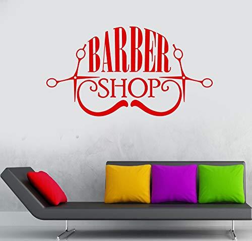 ASFGA Einzigartige Kamm Friseur Shop Aufkleber benutzerdefinierte Shop Blumen Poster Vinyl Wandkunst Dekoration Fenster Dekoration Friseur Rasiermesser Glas Aufkleber 58x106cm