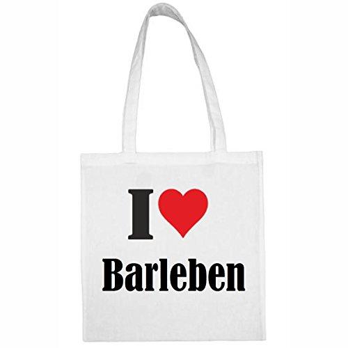 Tasche I Love Barleben Größe 38x42 Farbe Weiss Druck Schwarz