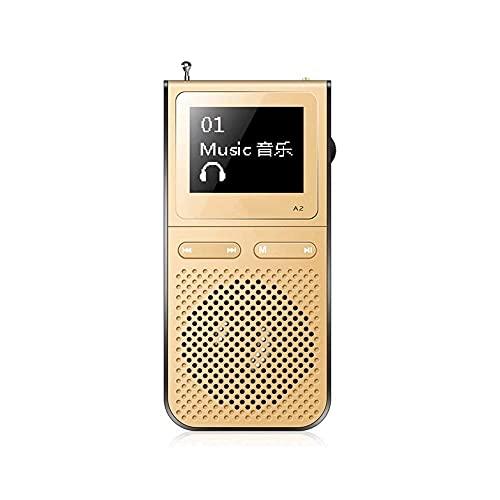 Z-Color MP3 Jugador, Almacenamiento Extensible, Sonido sin pérdida de HiFi, Walkman portátil para Deporte, Reproductor de MP3 / Radio FM / MP3 Walkman con Altavoz Incorporado (Color : Gold)