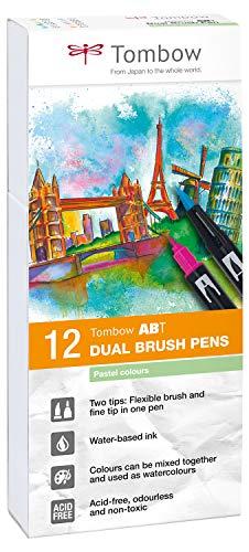 Tombow ABT-12P-2 Fiber Pen Dual Brush Pen con dos puntas Juego de 12 colores pastel